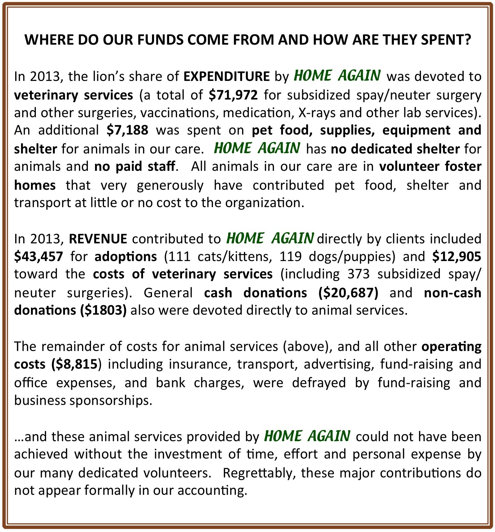 Where Do Our Funds Come From..
